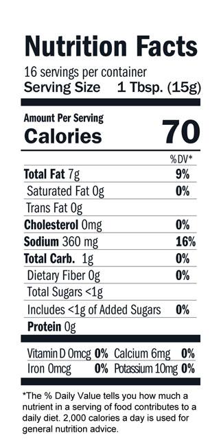Terrapin Ridge Farms Hot Wasabi Squeeze nutrition facts
