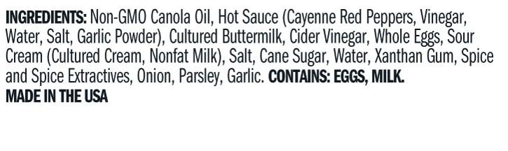 Terrapin Ridge Farms Buffalo Ranch Squeeze ingredients
