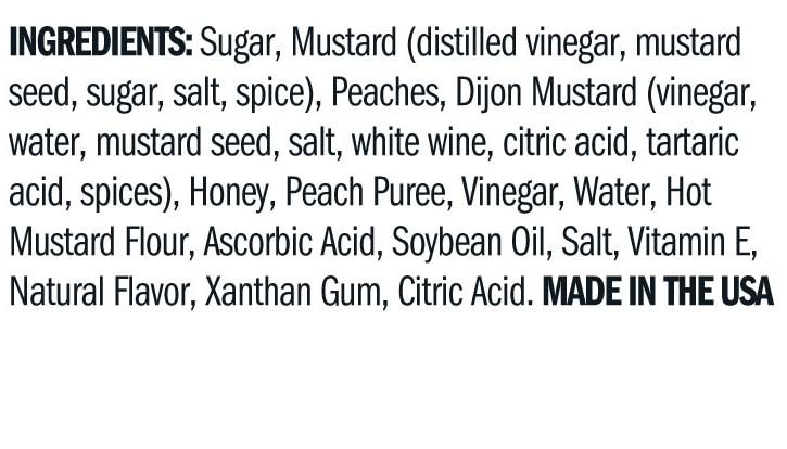 Terrapin Ridge Farms Peach Honey Mustard ingredients